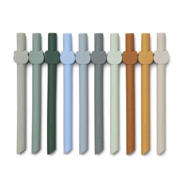 Lot de 10 pailles en silicone Badu - Blue wave multi mix