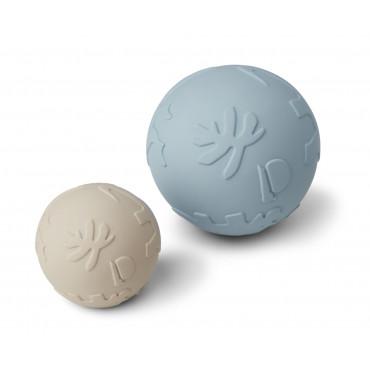 Balle en caoutchouc bébé x2 Thea - Dino sandy sea blue mix