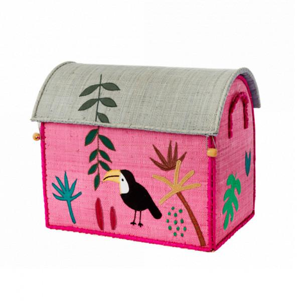 Coffre à jouets en raphia PM - Jungle toucan