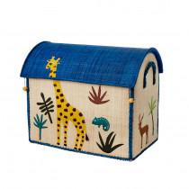 Coffre à jouets en raphia MM - Jungle girafe