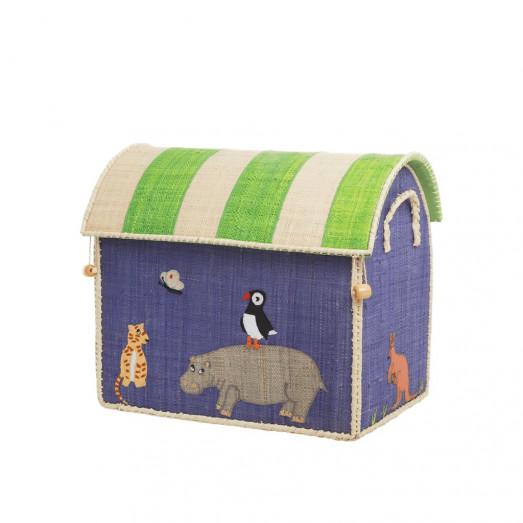 Coffre à jouets en raphia PM - Animal theme