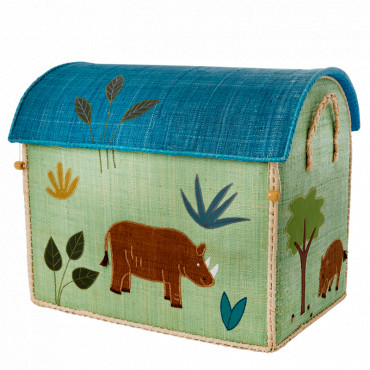 Coffre à jouets en raphia GM - Jungle theme bleu