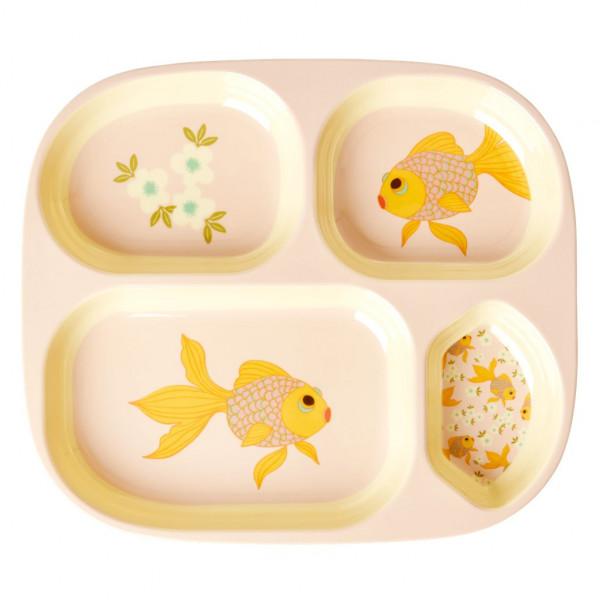 Assiette compartimentée mélamine - Goldfish