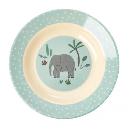 Assiette creuse imprimée mélamine - Jungle éléphant