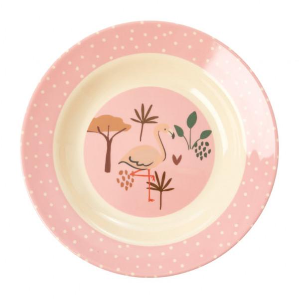 Assiette creuse imprimée mélamine - Jungle flamant rose