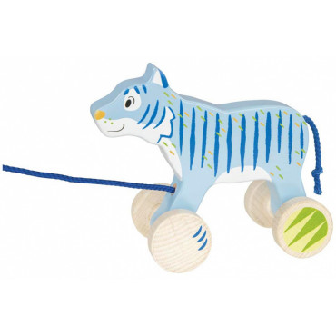 Animal à tirer en bois - Tigre