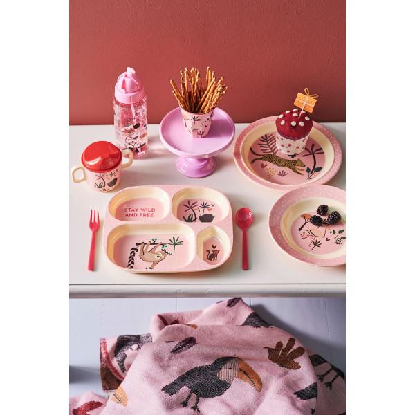 Set repas en mélamine - Jungle animals pink
