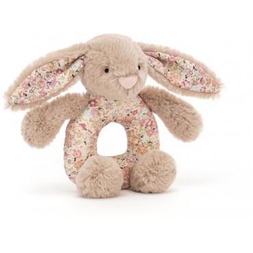Hochet d'éveil lapin - Bashful grabber blossom (fleurs roses) bea taupe