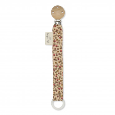 Attache tétine en coton bio - Rosaraie red