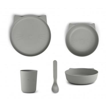 Set repas en bioplastique Paul - Cat dove blue