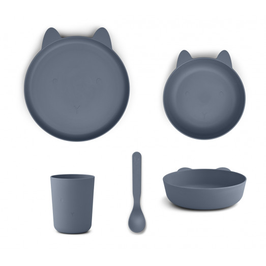 Set repas en bioplastique Paul - Rabbit blue wave