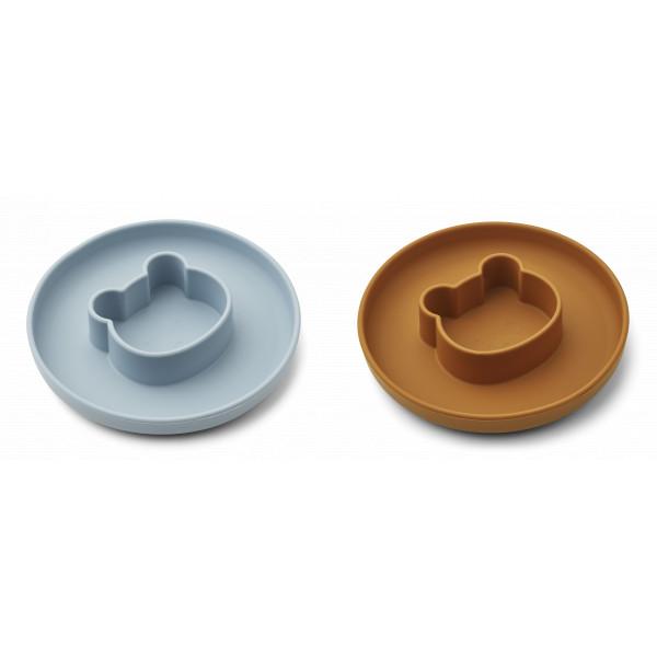 Lot de 2 assiettes Gordon - Mr bear sea blue / mustard mix