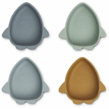 Bols en silicone x 4 Iggy - Space blue multi mix