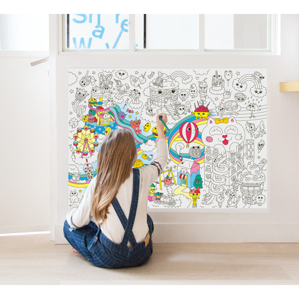 Poster coloriage géant - Kawaii