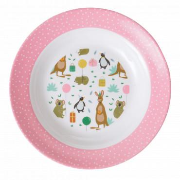 Assiette creuse imprimée mélamine - Animal party, Rose