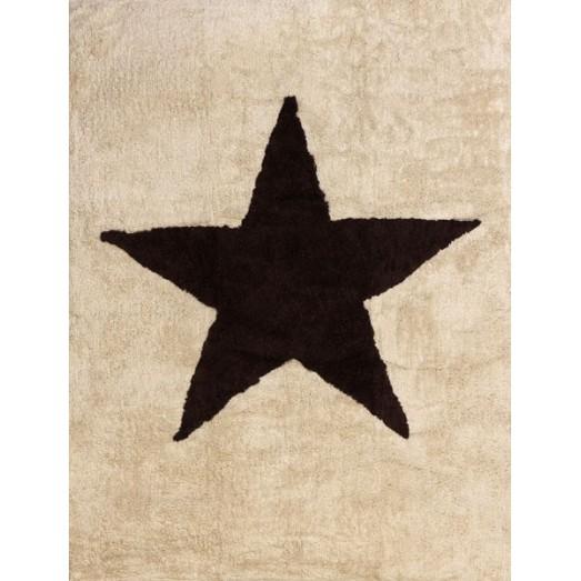 Tapis lavable - étoile marron fond beige