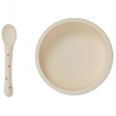 Set cuillère et bol avec ventouse en silicone - Terracotta dot