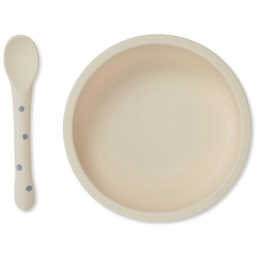 Set cuillère et bol avec ventouse en silicone - Ocean/Blue dot