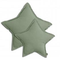 Coussin coton bio étoile pastel - Sage green (DS049)
