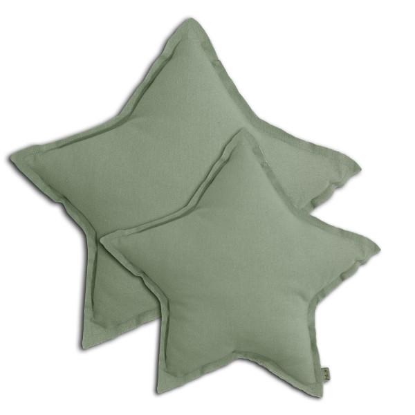 Coussin coton étoile pastel - Sage green (DS049)
