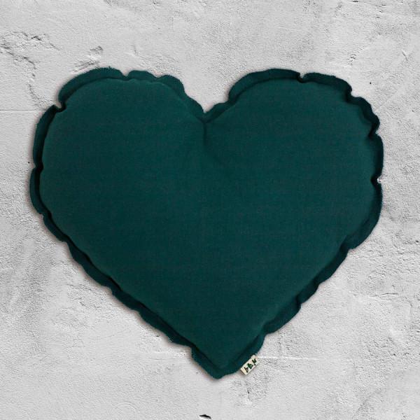 Coussin coeur en coton - Bleu canard (DS022)