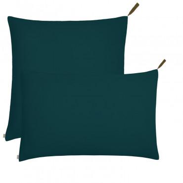 Housse de coussin uni rectangle 40x70 - Bleu canard (DS022)