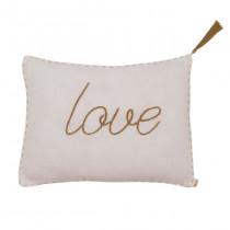Coussin rectangle en gaze de coton bio 30x40 Message Poudre (DS018) - Love