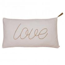 Coussin rectangle en gaze de coton bio 40x70 Message Poudre (DS018) - Love