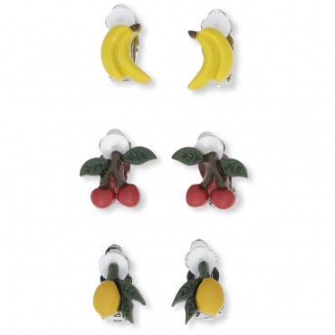 Lot de 3 paires de boucles d'oreilles à clip - Fruits