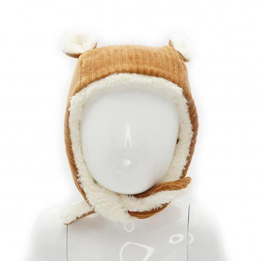 Bonnet polaire en velours - Camel
