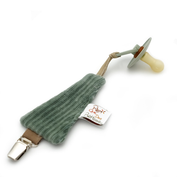 Attache tétine en velours - Vert