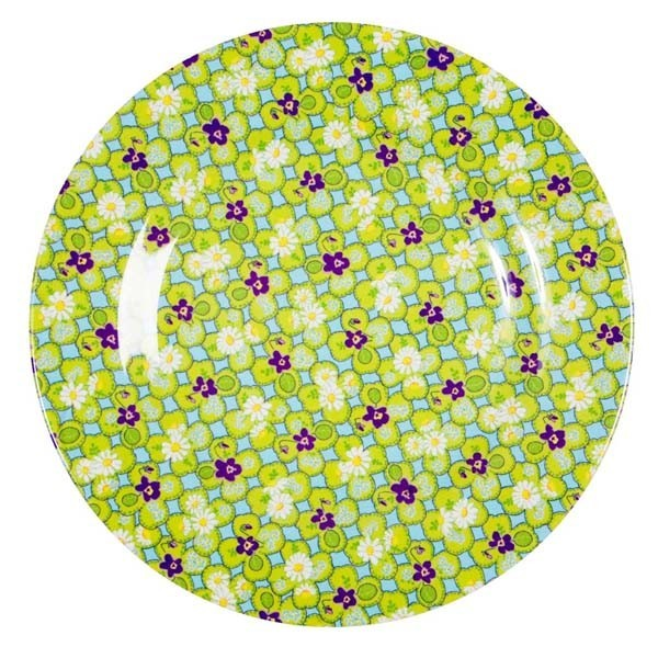Petite assiette imprimée mélamine Trèfles - vert