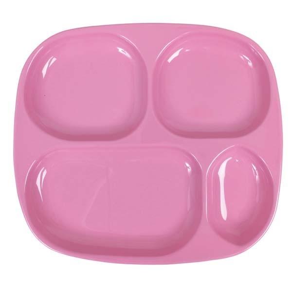 Assiette bébé compartimentée mélamine - rose