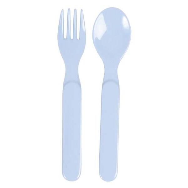 Set cuillère et fourchette bébé mélamine - bleu