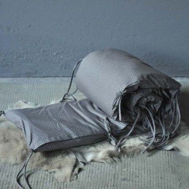 tour de lit lange uni gris bleu le pestacle de ma lou. Black Bedroom Furniture Sets. Home Design Ideas