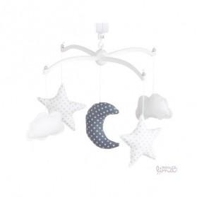 Mobile musical bébé - Lune et étoiles orage