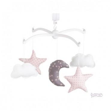 Mobile musical bébé - Lune & Etoiles rose et gris