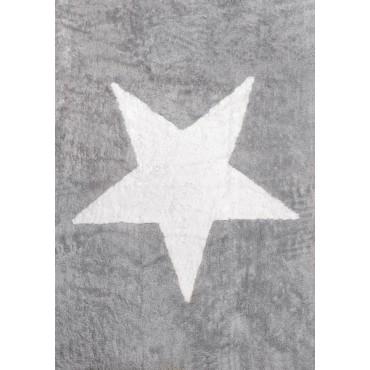 Tapis enfant - étoile blanche fond gris