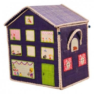 Coffre à jouets raphia - Maison violette