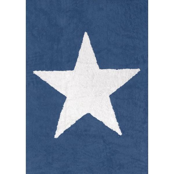 Tapis lavable - étoile blanche fond bleu