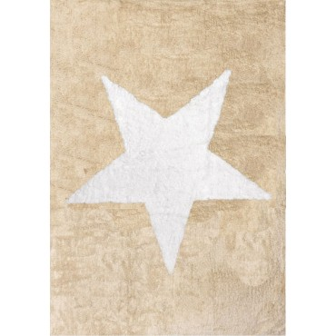 Tapis Etoile blanche - beige