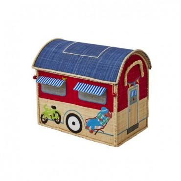 Coffre à jouets raphia - Caravane rouge