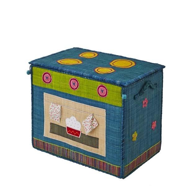Coffre à jouets raphia - Cuisinière bleue