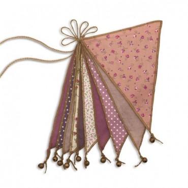 Guirlande fanions et grelots - Rose