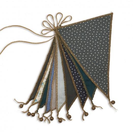 Guirlande fanions et grelots - Bleu
