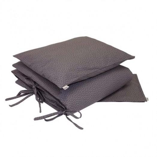 Parure de lit - Etoiles beiges fond taupe