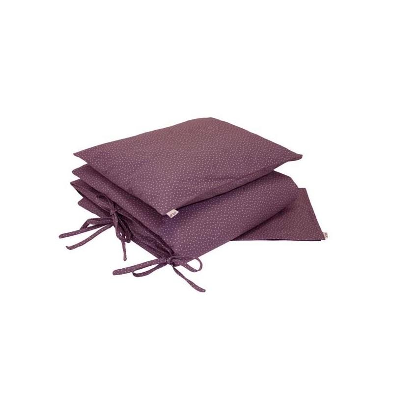 parure de lit etoiles beiges fond prune le pestacle de ma lou. Black Bedroom Furniture Sets. Home Design Ideas