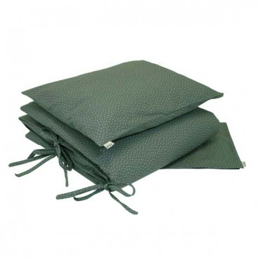 Parure de lit - Etoiles beiges fond vert