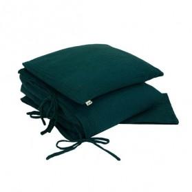 Parure de lit en mousseline de coton - vert canard