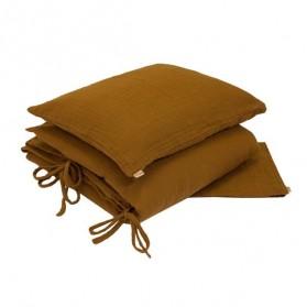 Parure de lit en mousseline de coton - Moutarde